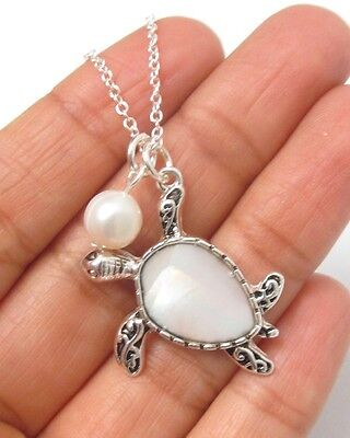 Sea Turtle Necklace Mother Of Pearl Charm Surf Beach Girl  QUALITY FAST SHIP USA