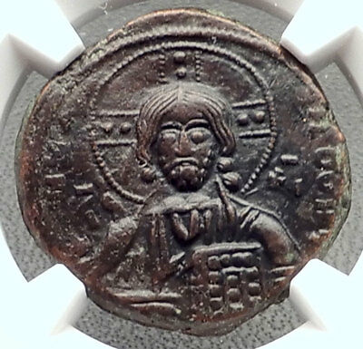 JESUS CHRIST Class A3 Anonymous Ancient 1020AD Byzantine Follis Coin NGC i72353