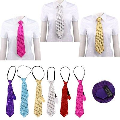 7d991662bc90 Unisex Sparkly Glitter Sequin Tie Skinny NeckTie Dancing Disco Party Magic  Stage