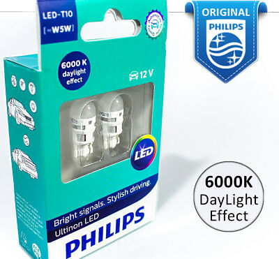 PHILIPS W5W LED T10 Vision Interior parking Car White Light Bulbs 6000K 5W 12V