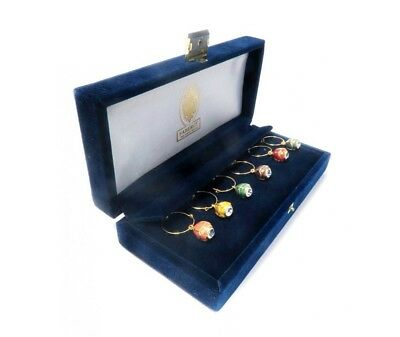 FABERGE Set of 6 Enamel Egg & Crystal Wine Glass Charms / Markers in Velvet Box
