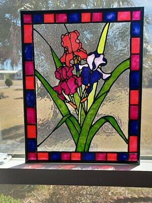 Irises Stained Glass Window Panel Hand Painted