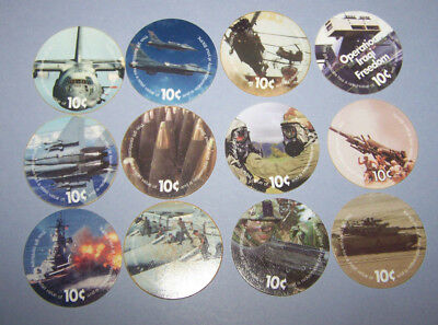 2 nd  Print Set 10 Cent AAFES  Pogs No Date printing  Fine to About Unc.
