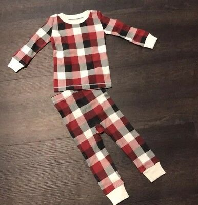 Burts Bees Baby Buffalo Check Plaid Pajamas Christmas Thanksgiving NEW