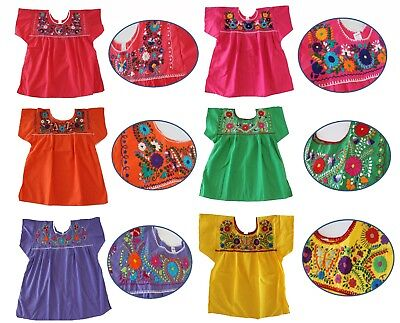Mexican Peasant Blouse Hand Embroidered Top Assorted Colors Vintage Style Tunic