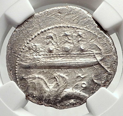 BYBLOS Phoenicia Authentic Ancient 400BC Silver Greek Coin LION SHIP NGC i72611