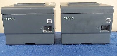 lot of 2 Epson label receipt pos printer printers TM-T88V M244A with power cords