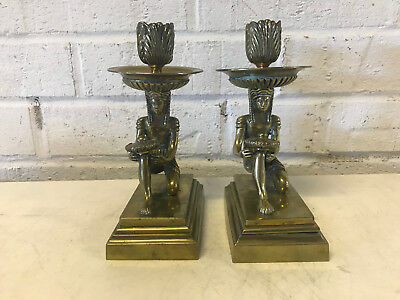 Vintage Antique Art Deco Egyptian Revival Brass Pair of Candle Stick Holders