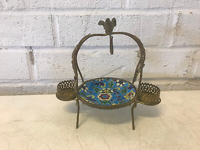 Antique French Longwy Pottery Small Dish in Metal Mounting w/ Bird Decoration