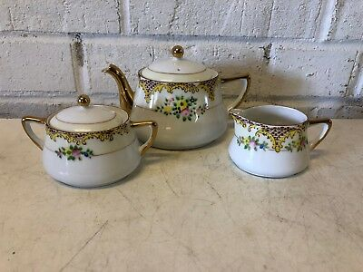 Vintage Possibly Antique Japanese Porcelain Hand Painted Teaset with Floral Dec.