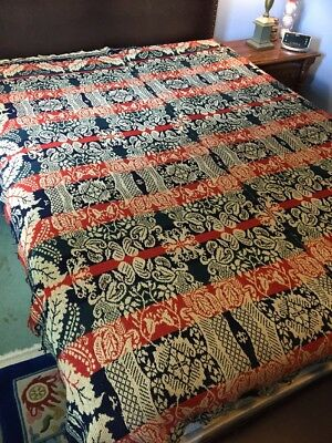 "Coverlet Mid 19th Century Fringed 2 Part Weave Tomato Red Blue Natural 87""x 72"""
