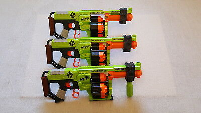 Lot of 3 Nerf Zombie Strike Dominator N-STRIKE Dart Guns