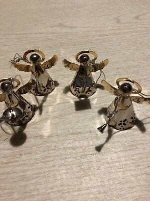 set of 4 silvertone metal Angel Christmas tree Ornaments