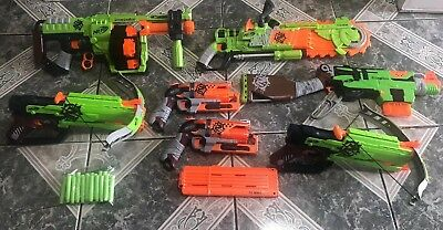 Nerf Zombie Gun Lot of (7) SlingFire,Doominator, OutBreaker Bow