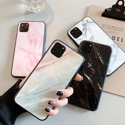 iPhone Xs Max Case Luxury Marble Style Tempered Glass Soft Bumper Case Cover XR