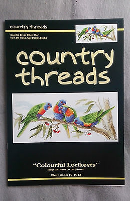 Colourful Lorikeets cross stitch chart by Fiona Jude 20 x 44cm for 14ct