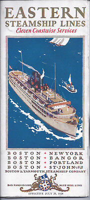 1928 Eastern Steamship Lines Travel Brochure & Timetable W/Deck Plans