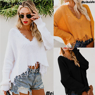 Women's Autumn Sweater V-Neck Long Sleeve Casual Loose Pullover Jumper Blouse