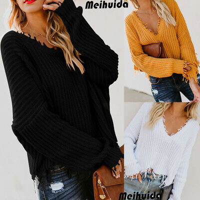 US Women's Loose Knit Pullover Jumper Sweater V-Neck Long Sleeve Knitwear Top