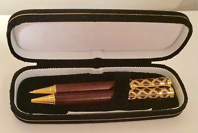 Bombay Gold/Mahogany Lattice Pen and Pencil Collectible Vintage Writing Gift