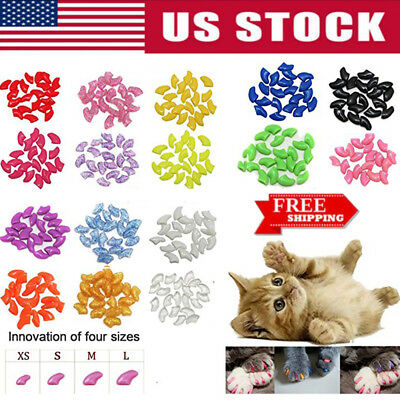 20PCS Soft Rubber Nail Caps For Puppy Dog Cat Paw Pet Claw Control Anti-scratch
