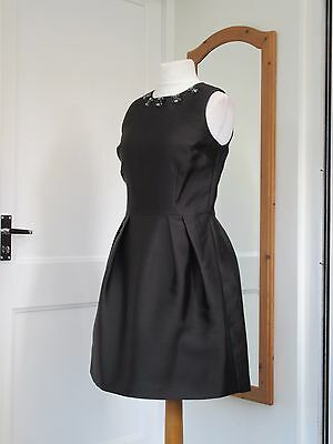 M&s Autograph Black Beaded Cocktail Dress Size 12 Brand New With Tags