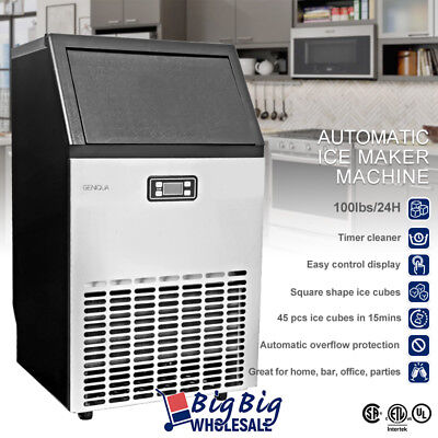 LCD Commercial Ice Maker Machine Stainless Steel 45pcs / 15 mins, 100lbs per Day