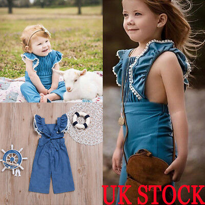 6dd65b3653a3 TODDLER KIDS BABY Girl Denim Bodysuit Romper Jumpsuit Outfit Clothes ...