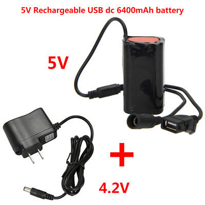 Battery Pack 5V USB Rechargeable 6400mAh 4x18650 Bicycle Light Bike Outdoors