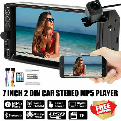 "7"" 2 DIN Car Radio Stereo FM AM MP5 Player Touch screen Mirror Link Free Camera"