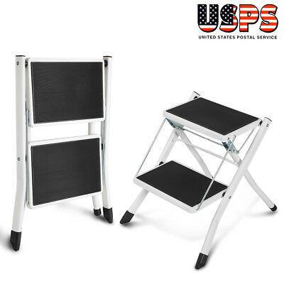 Heavy Duty 2 Step Ladder Folding Non Slip Safety Stool Portable Industrial Home