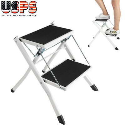 Portable 2 Step Ladder Folding Non Slip Safety Stool Heavy Duty Industrial Home