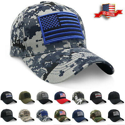 Baseball Cap USA American Flag Hat Visor Strapback Tactical Military Army Mens