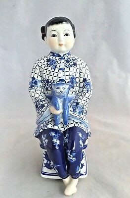 Vintage Bombay Blue And White Porcelain Asian Figurine