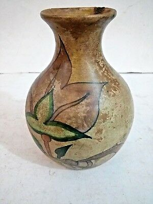 antigue Ancient  Size Teracotta Painted Pot With Rose Valley