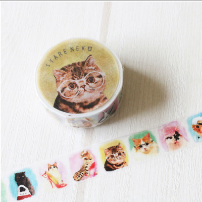 Washi Tape - Tokotoko Circus:  Syare Neko Japanese Cat Deco Tape Made In Japan