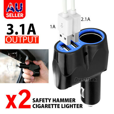 2x Dual USB Socket Splitter Car Cigarette Lighter Charger Power Adapter 12V