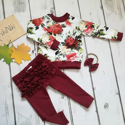 UK Newborn Baby Girls Winter Outfits Clothes Flower Tops+Ruffle Pants 3Pcs Set