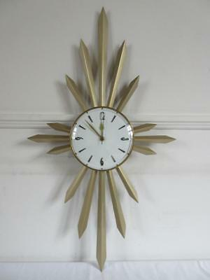 Super Vintage Retro 1960's/70's Metamec Quartz Starburst Wall Clock