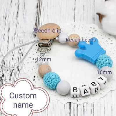 Personalised Baby  Name Dummy Clip Pacifier Chain Dummie Binky Soother Holder