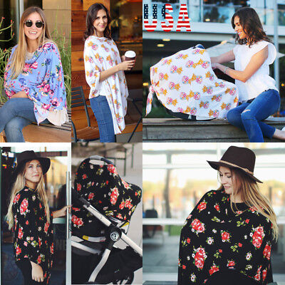 US Breastfeeding Baby Car Seat Canopy Cover Nursing Scarf Cover Up Apron Shawl