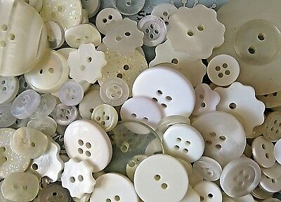 50 x Assorted CREAM IVORY Buttons Various Sizes, Shapes & Colours / Tones BU033