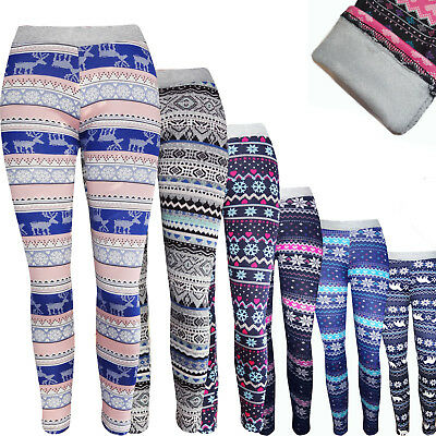 Kinder Mädchen mit Fell Warm Winter Leggings Thermo Hose Leggins Treggings