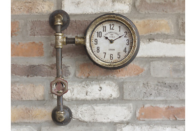 Old Town Clocks Single Clock with Industrial Pipework Quirky Metal Wall Mounted