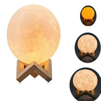 3D Moon Lamp,4.7 inch 3D Printing Moon Light, Warm and Cool 3 Colors Dimmable
