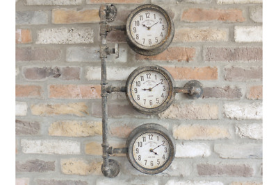 Old Town Clocks Triple Clock with Industrial Pipework Quirky Metal Wall Mounted