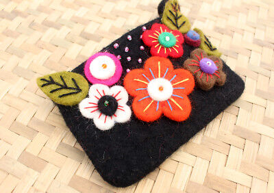 Black Felt Coin Purse decorated with Sunflower & Beads