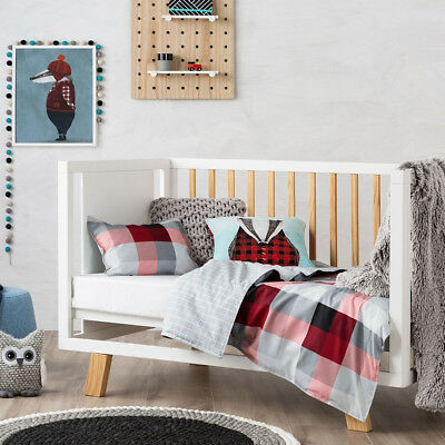 New Adairs Kids Mr North Cot Quilt Cover Set Rrp$99.99 Tartan / Reversible Grids