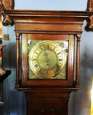 19th Century Oak And Brass Faced Grandfather Clock