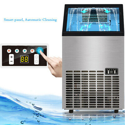 Commercial Ice Maker Stainless Steel Machine 60Kg/24Hr Restaurant Bar Icemaker
